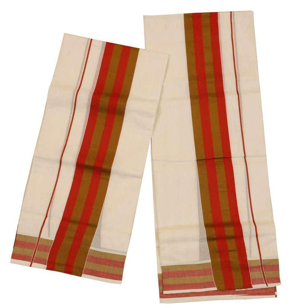 Traditional Set Mundu With Orange And Red Kara