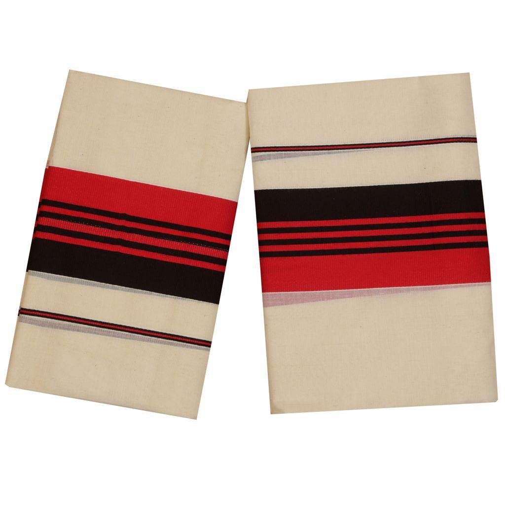 Setmundu With Black And Ruby Color Stripes Kara