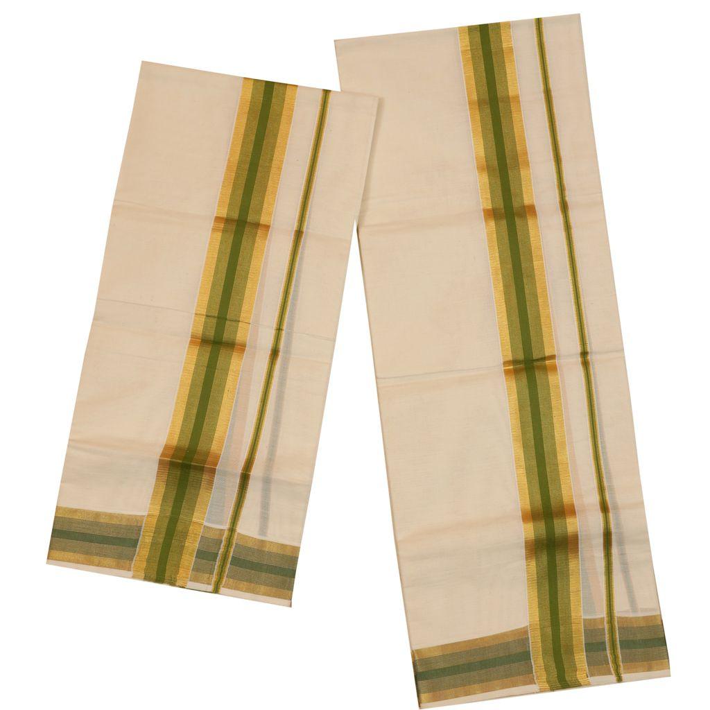 Traditional Set Mundu With Gold And Green Kara