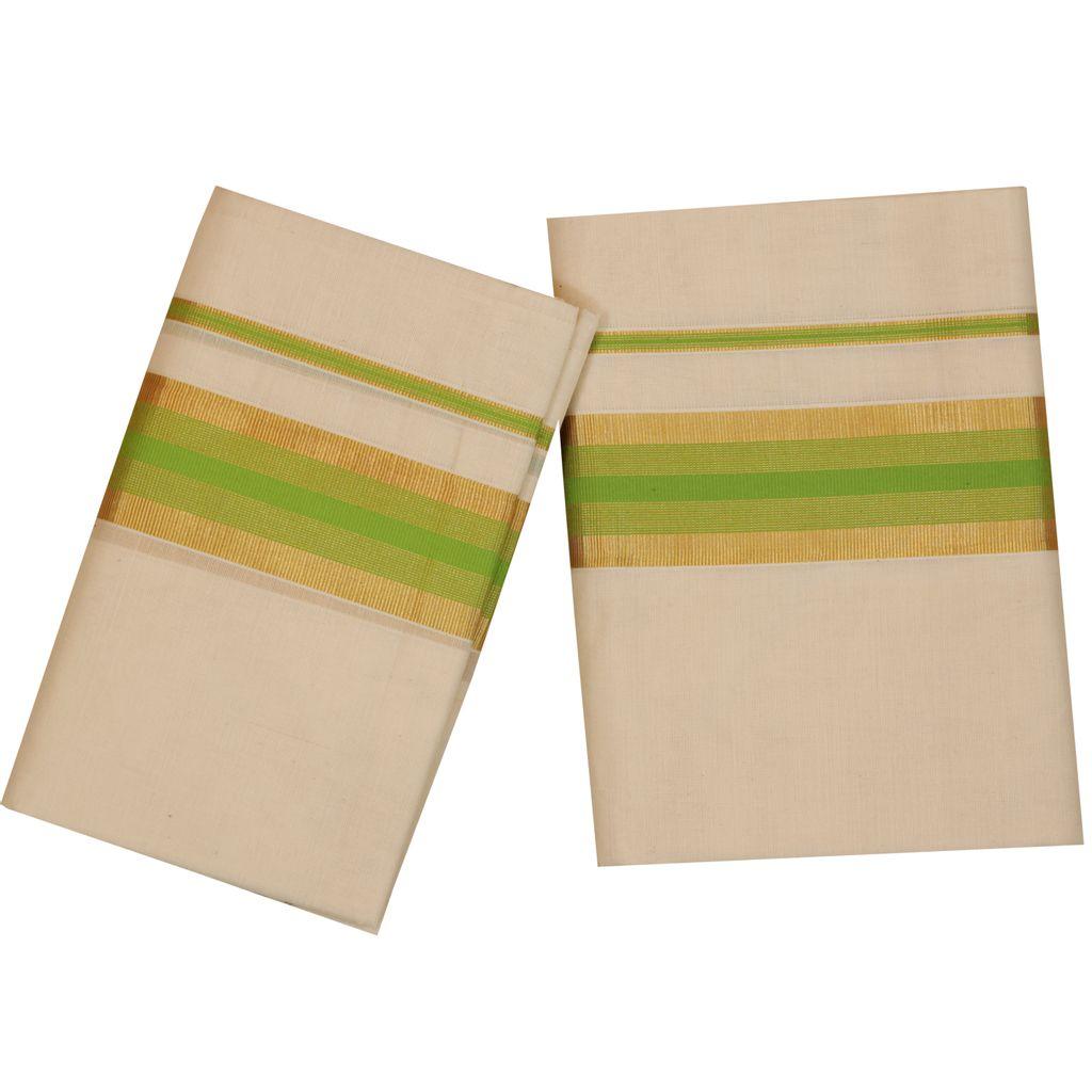 Traditional Set Mundu With Gold And Light Green Kara