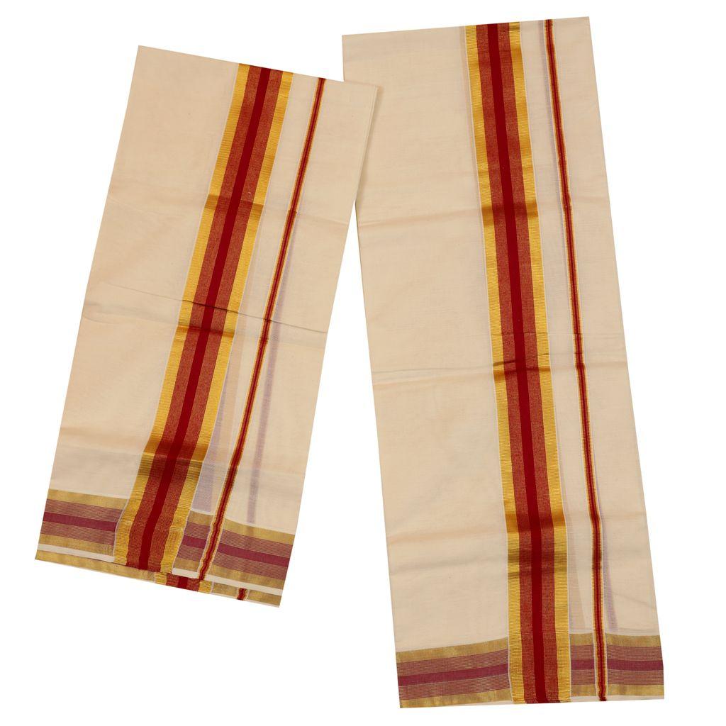 Traditional Set Mundu With Gold And Maroon Kara