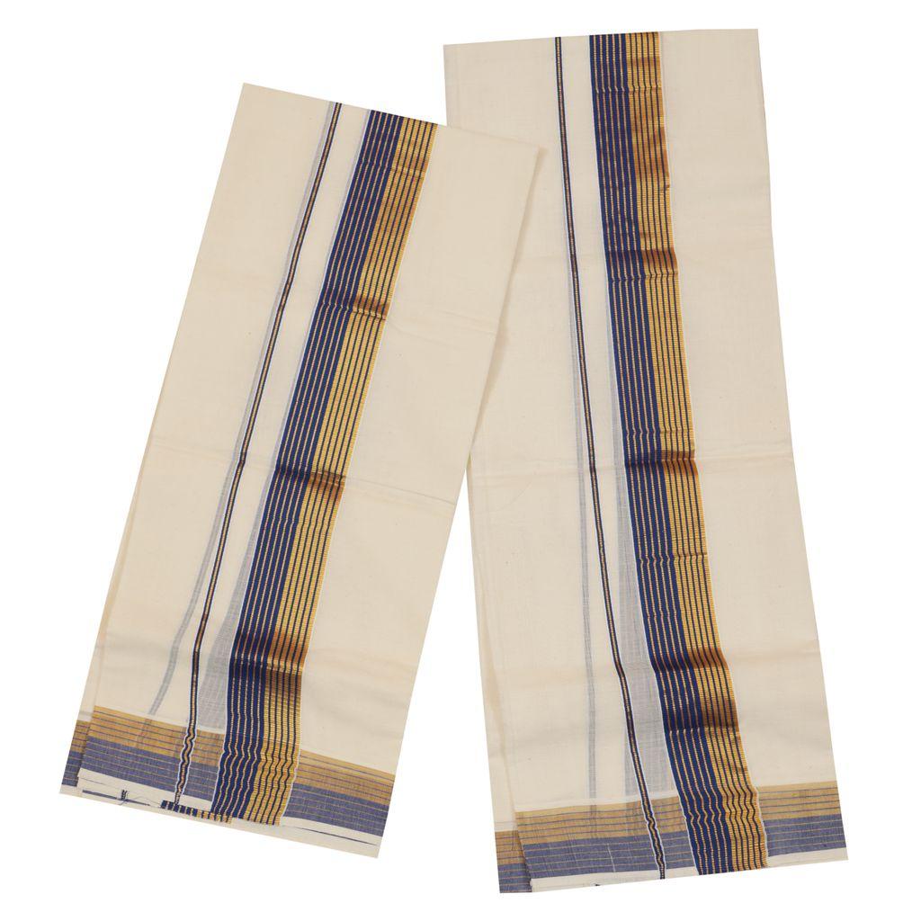 Traditional Set Mundu With Blue And Golden Kara