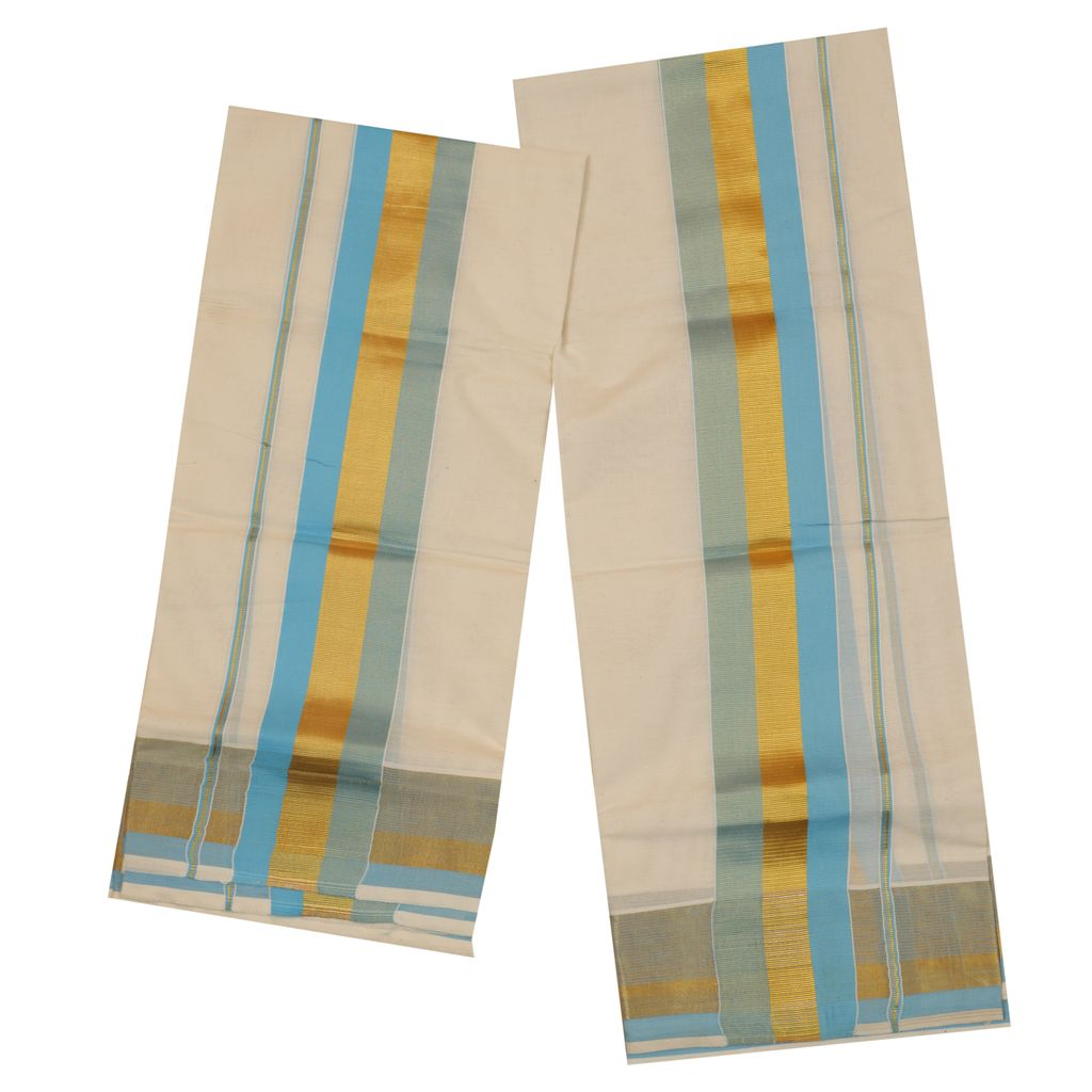 Traditional Set Mundu With Sky Blue And Golden Design