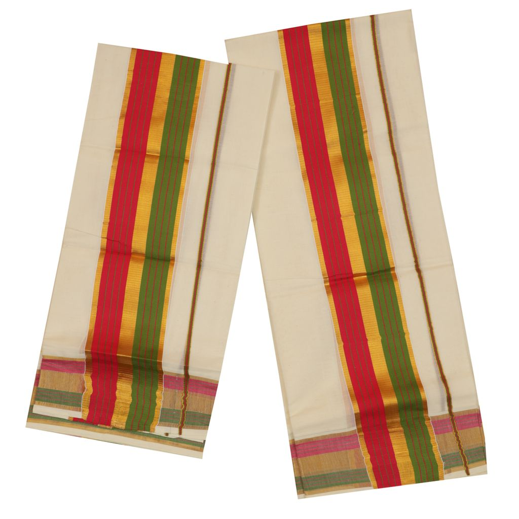 Set Mundu With Green And Red Design