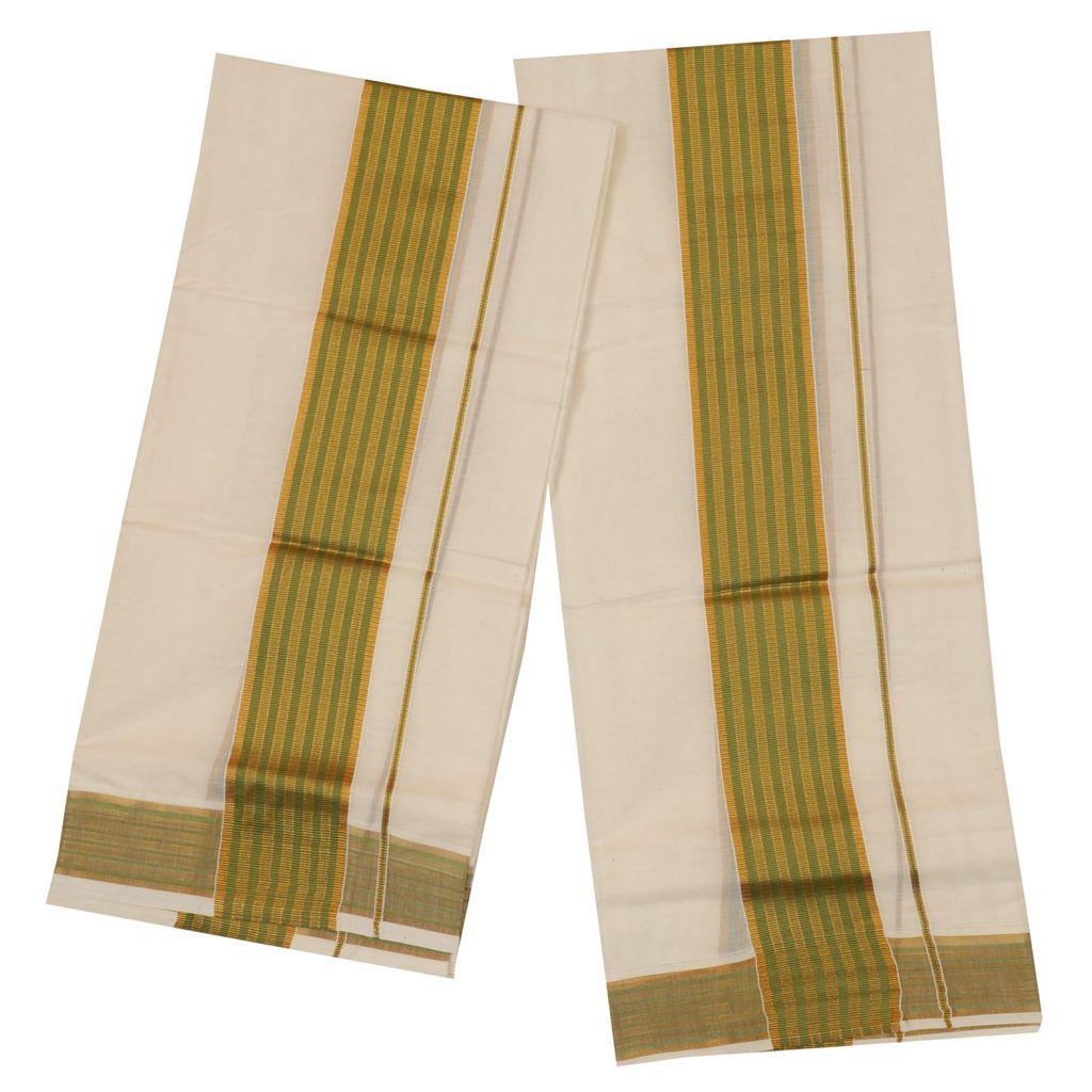 Traditional Set Mundu With Green And Golden Kara
