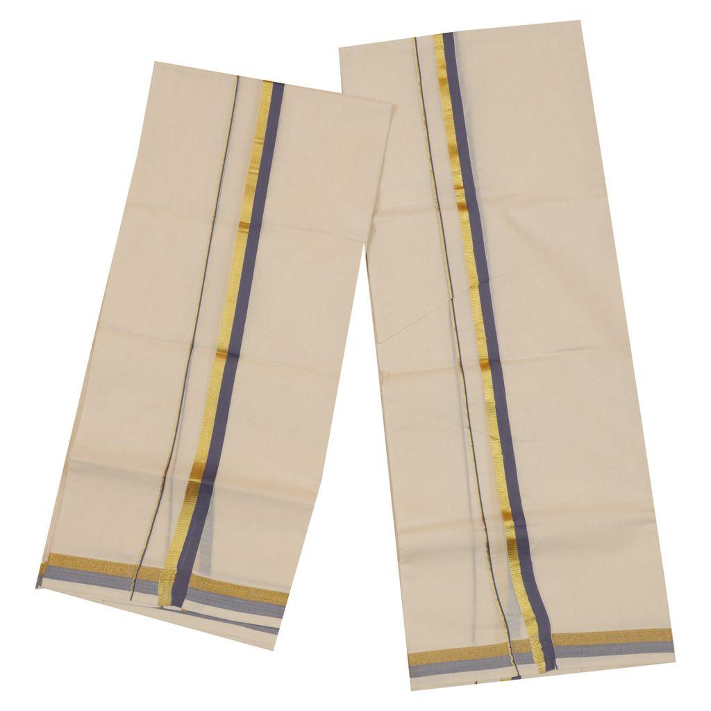 Traditional Set Mundu With Light Blue And Gold Kara