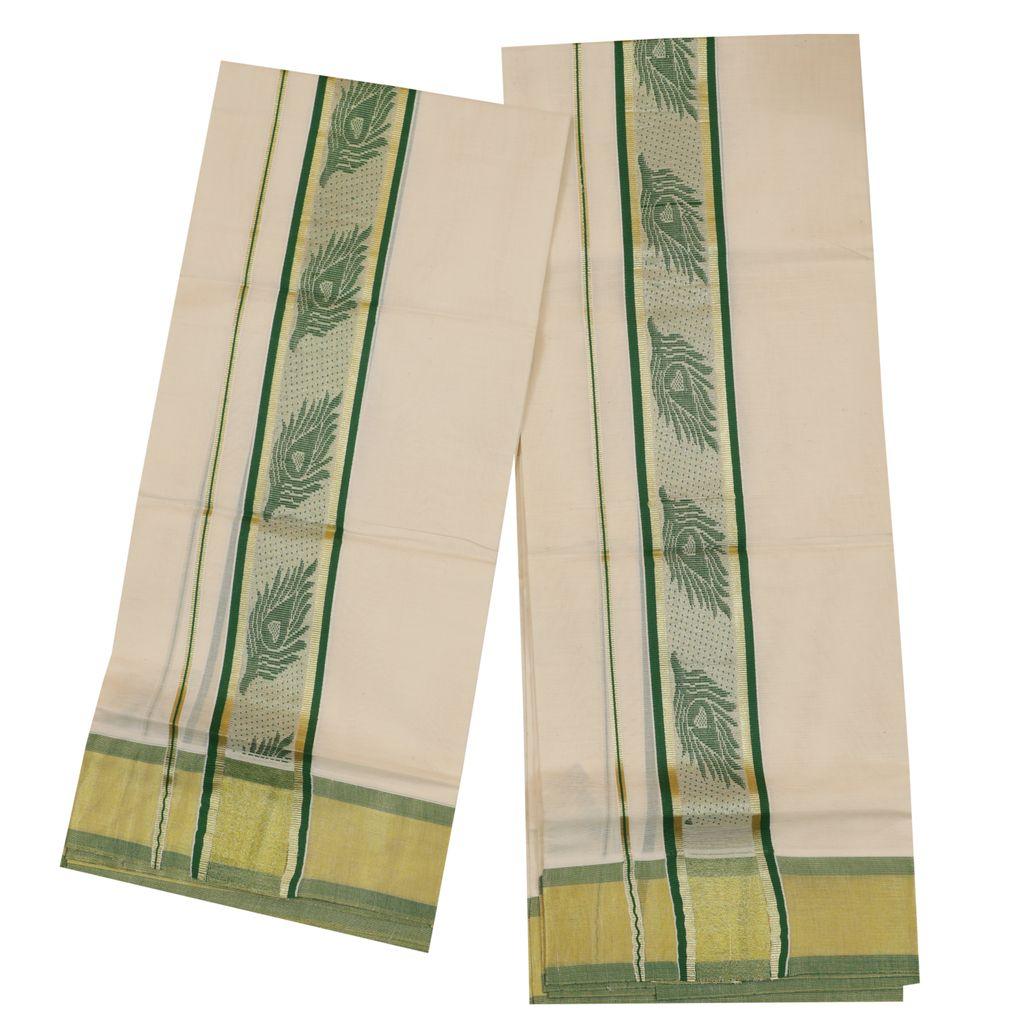 Traditional Set Mundu With Green Mayilpeeli Design