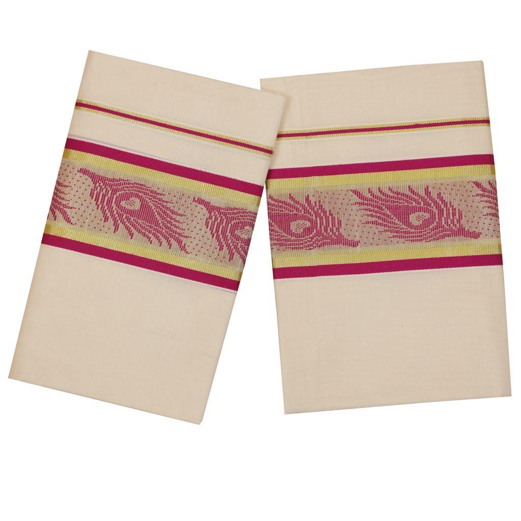 Traditional Set Mundu With Purple Mayilpeeli Design