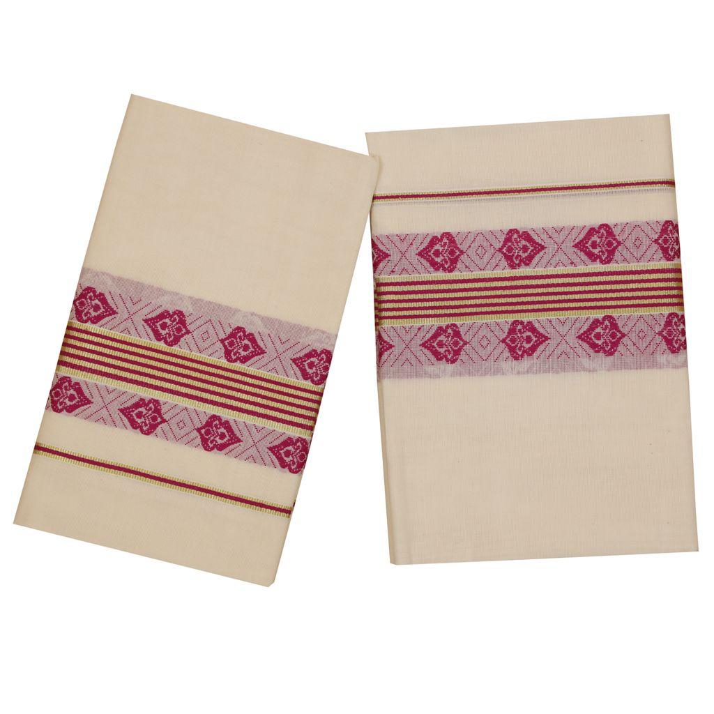Traditional Set Mundu With Purple Print