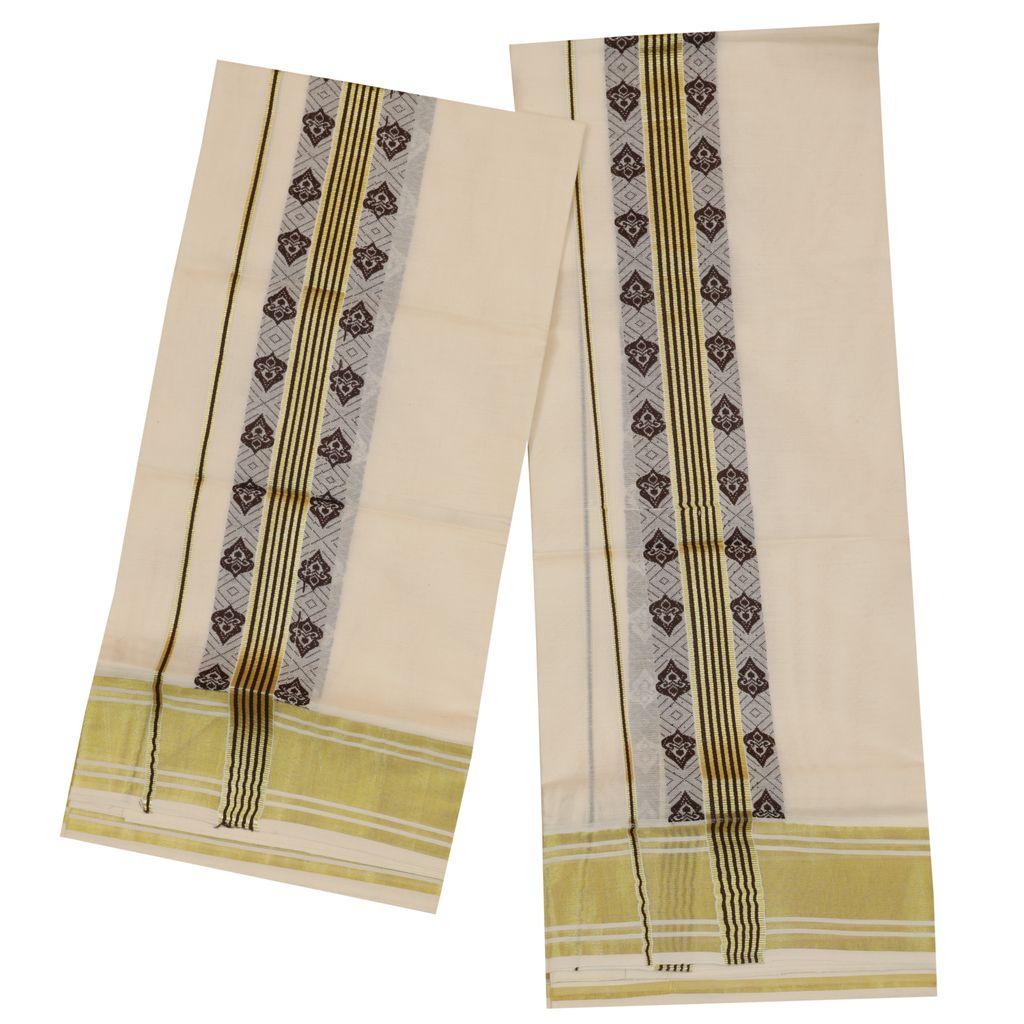 Traditional Set Mundu With Coffee Brown Print