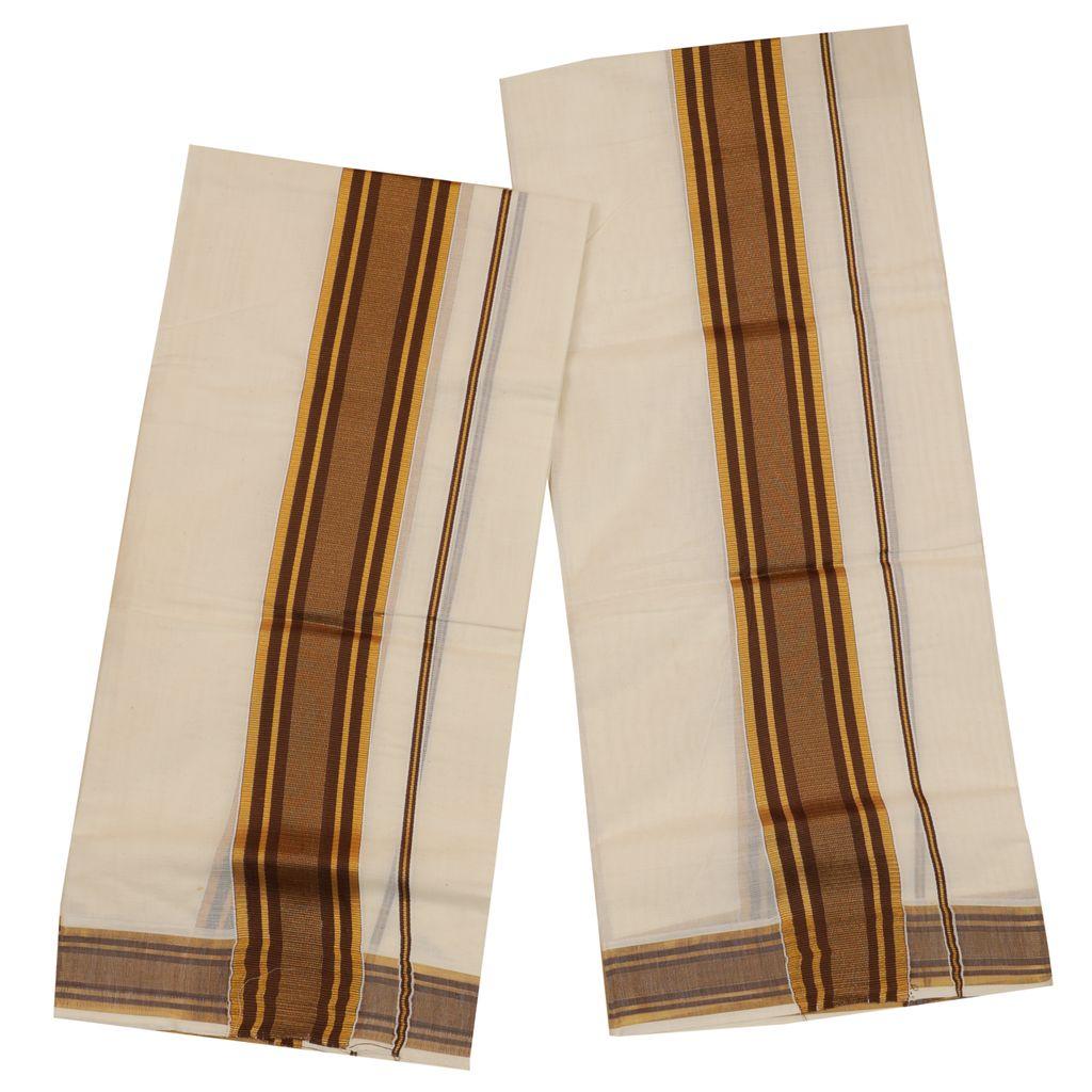 Traditional Set Mundu With Gold And Brown Kara