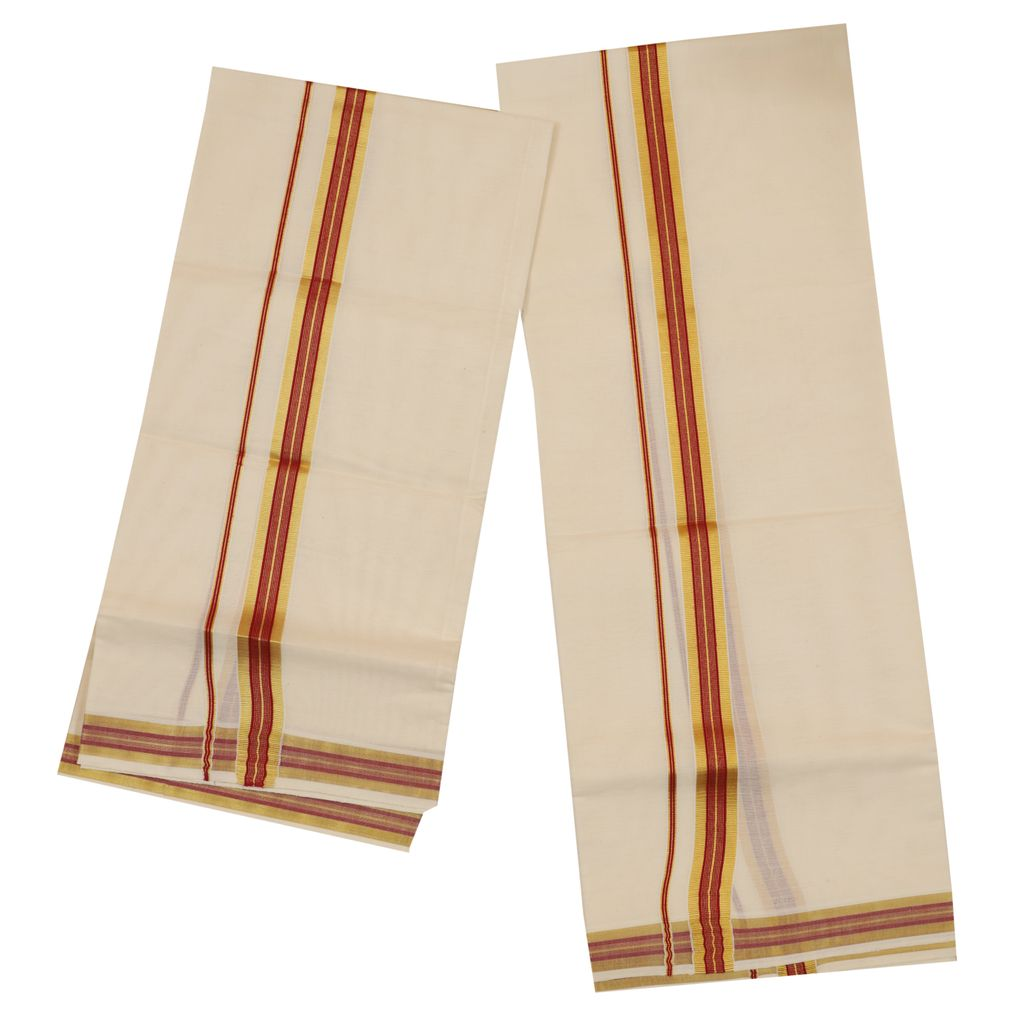 Traditional Set Mundu With Red And Golden Kara