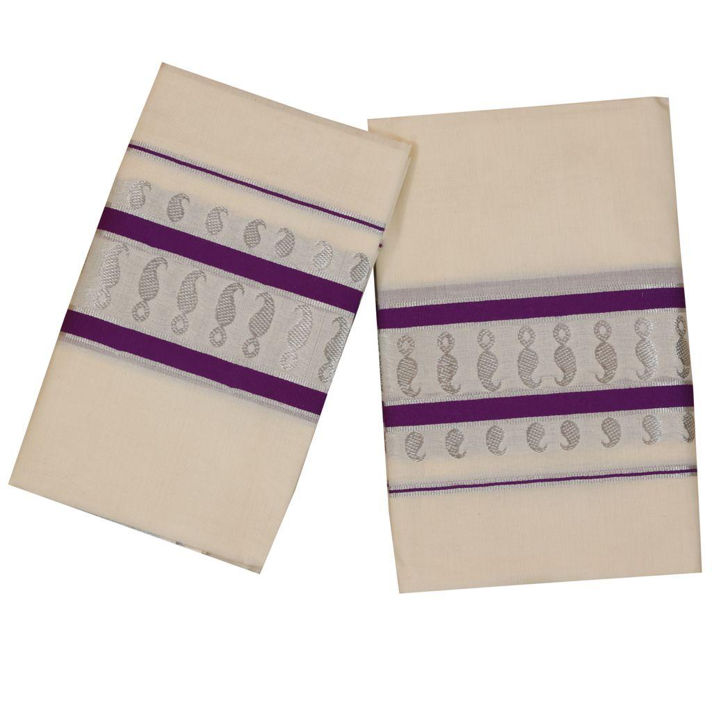 Cotton Set Mundu With Silver Design