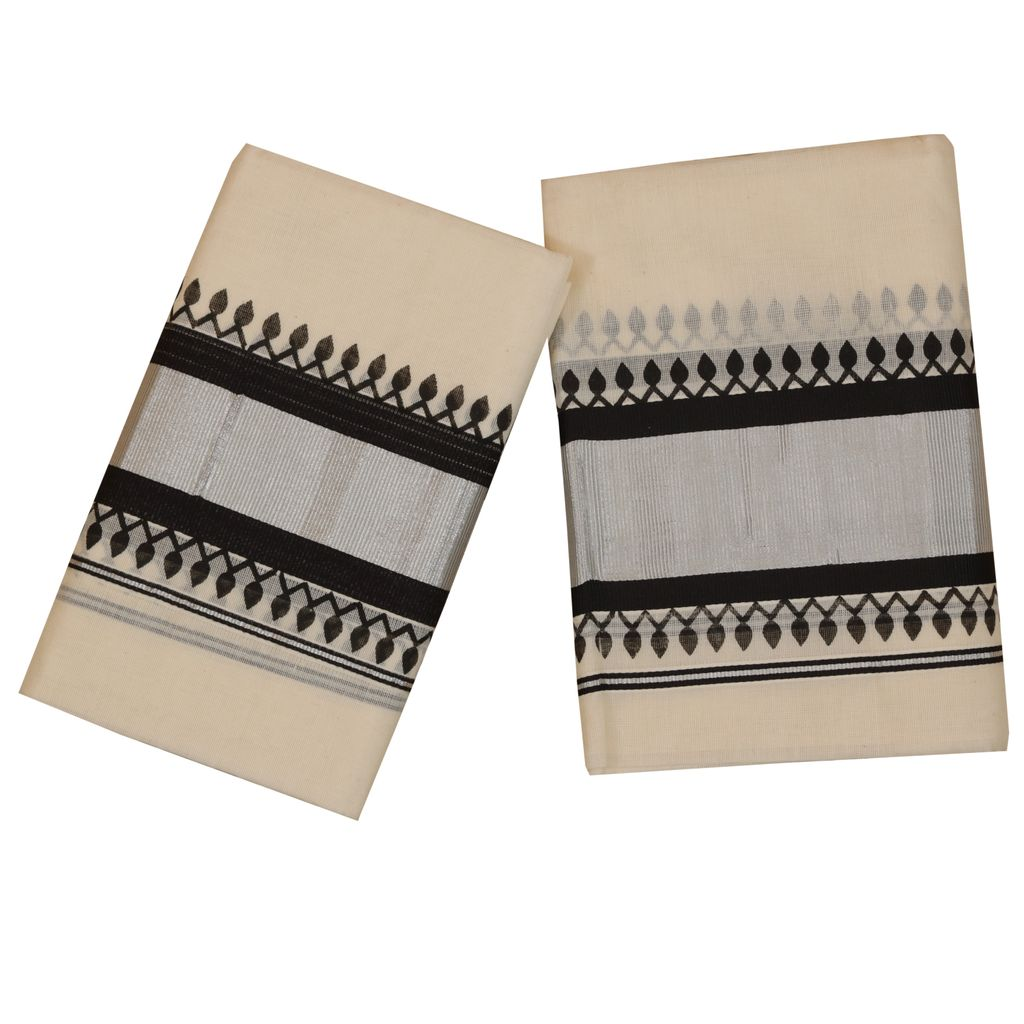 Traditional Set Mundu With Silver And Black Print