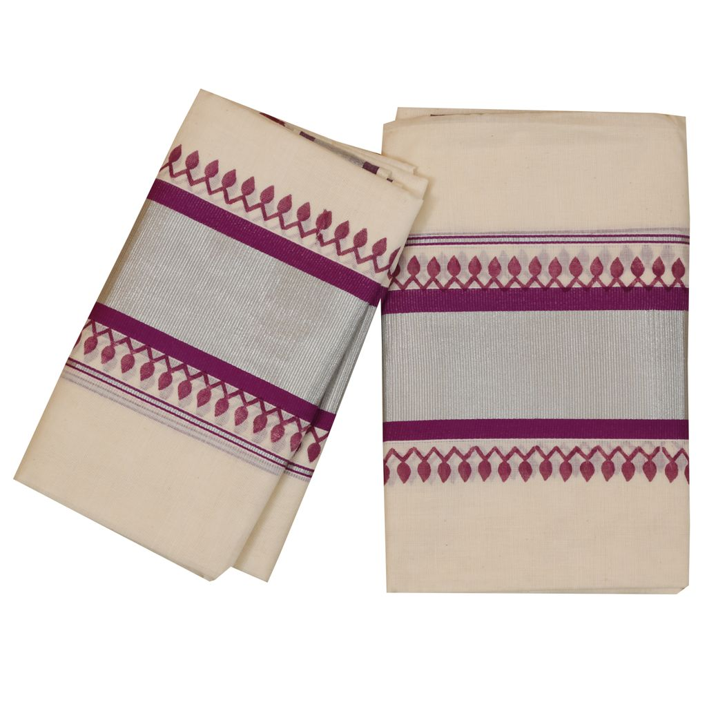 Traditional Set Mundu With Silver And Purple Print
