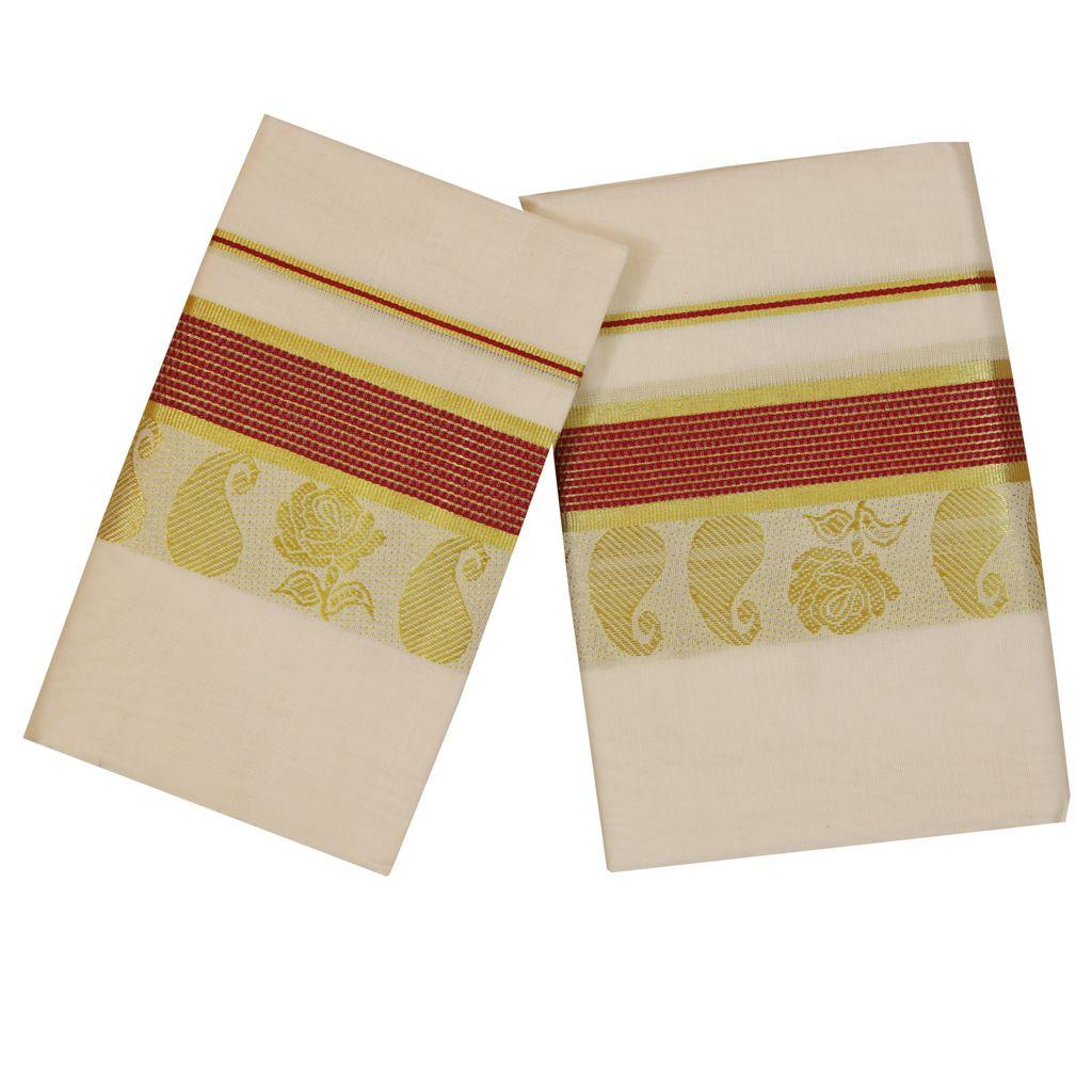 Set Mundu With Golden Rose Design