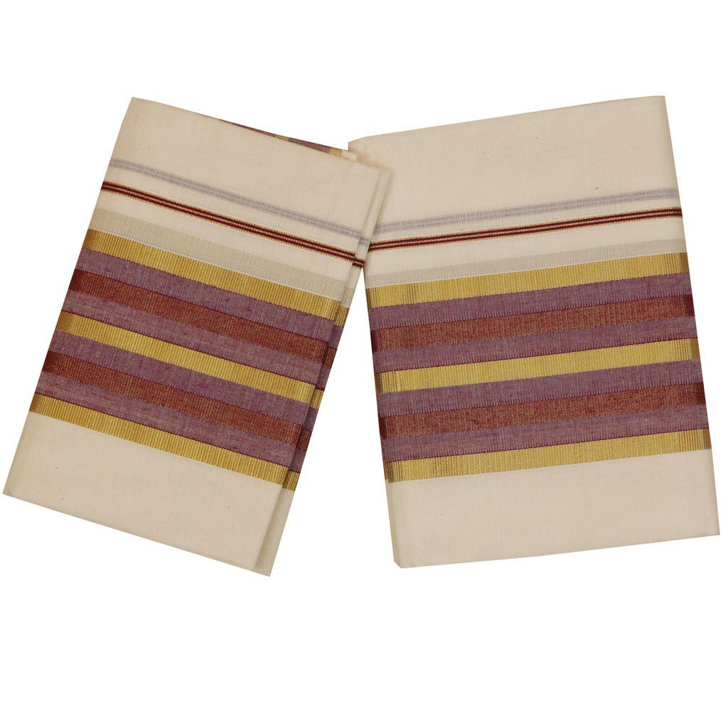 Traditional Set Mundu With Purple And Golden Kara