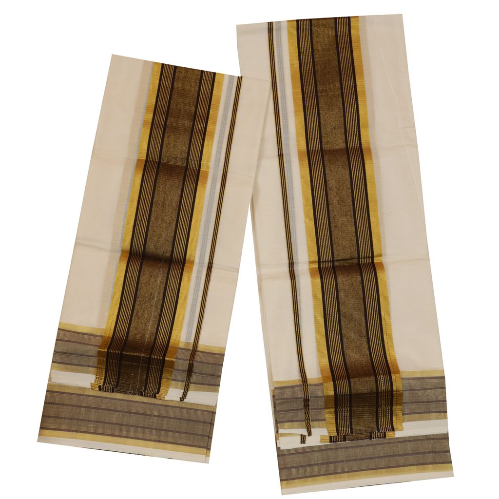 Traditional Set Mundu With Gold And Black Kara