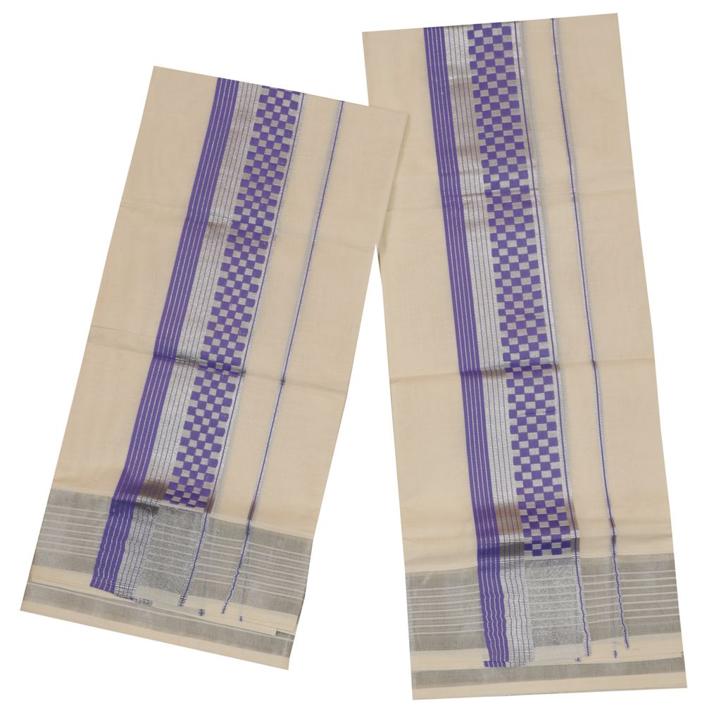 Set Mundu With Blue And Silver Design