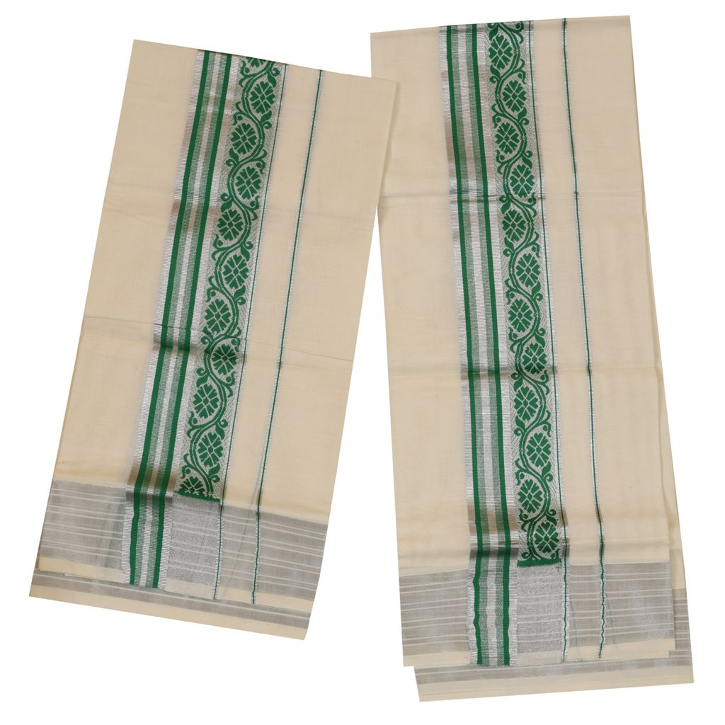 Traditional Set Mundu With Green And Silver Design
