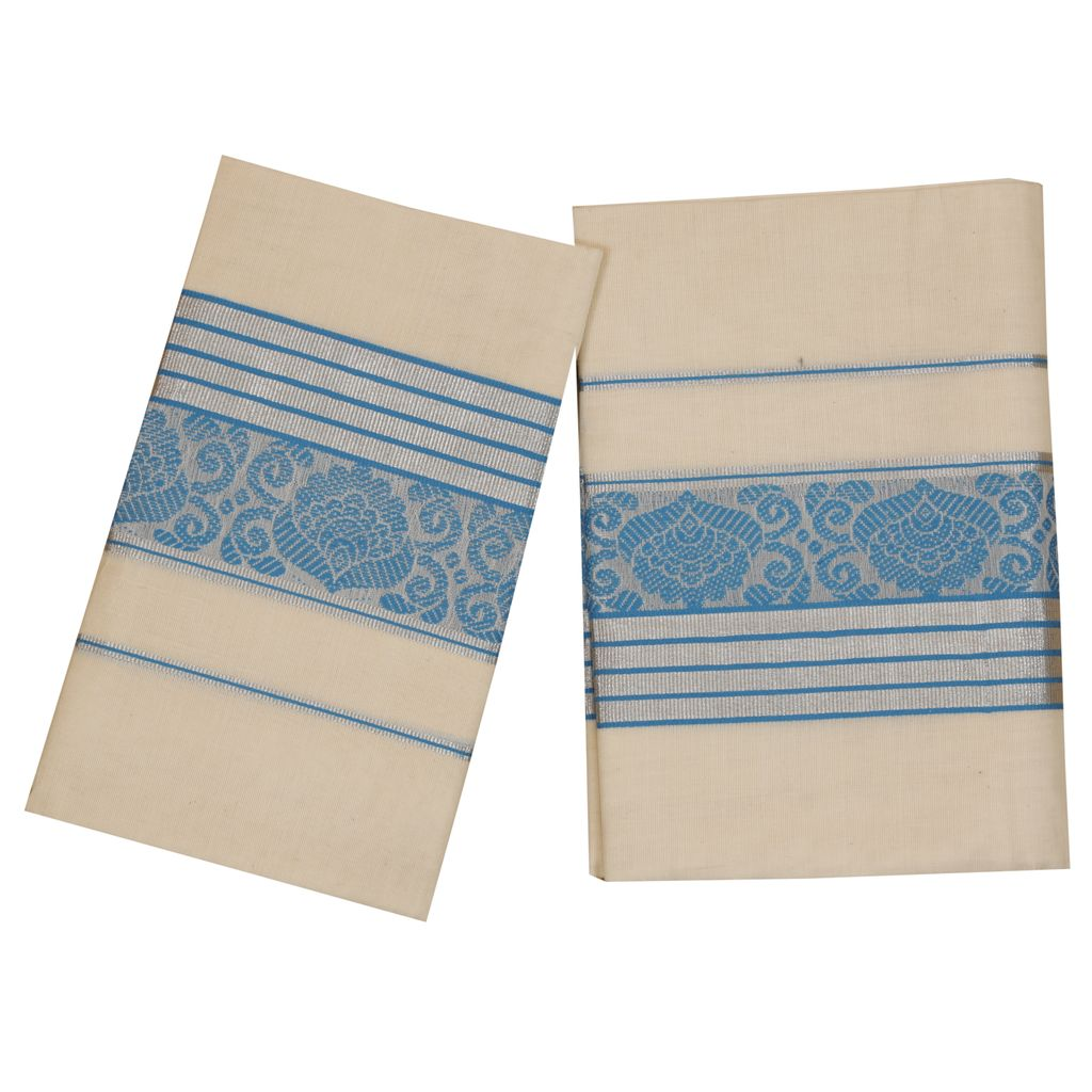 Set Mundu With Blue And Silver Print