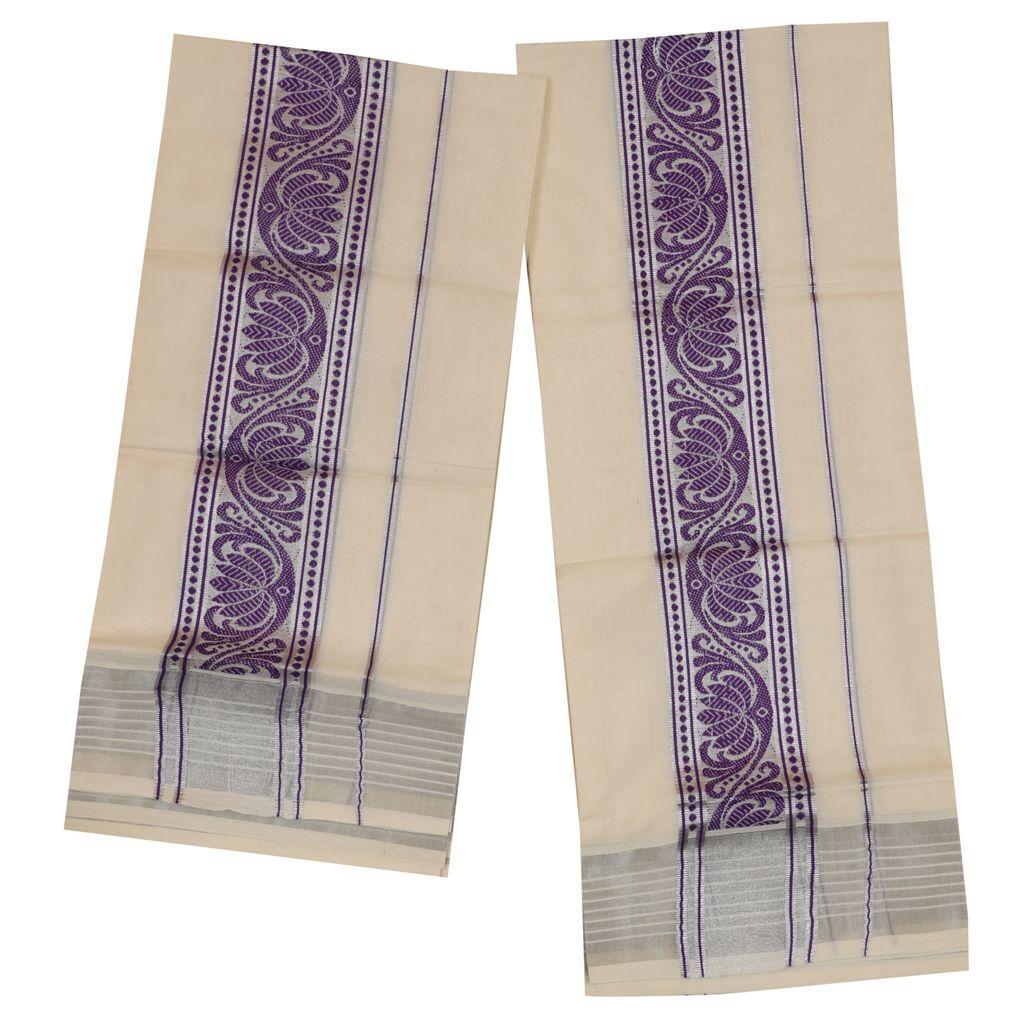 Traditional Set Mundu With Special Violet Lotus Design