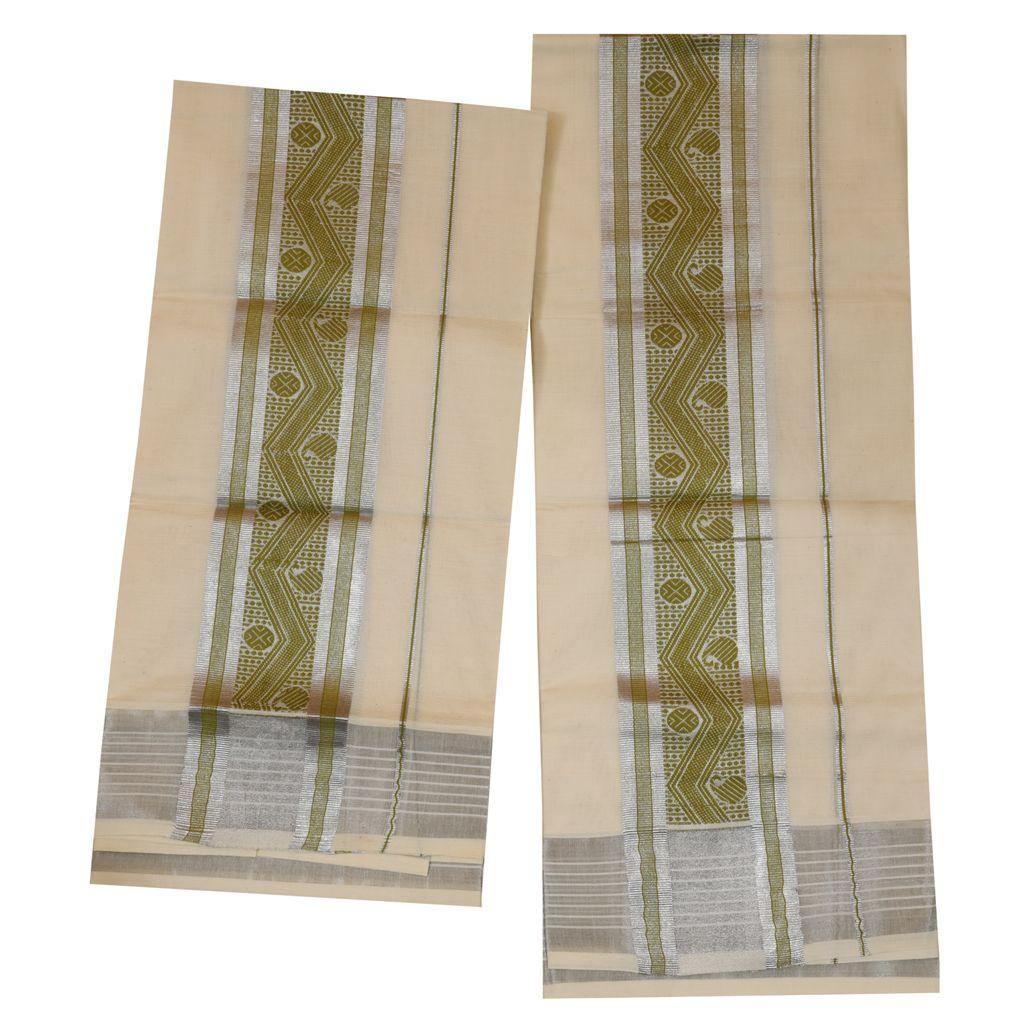 Traditional Set Mundu With Light Green Print