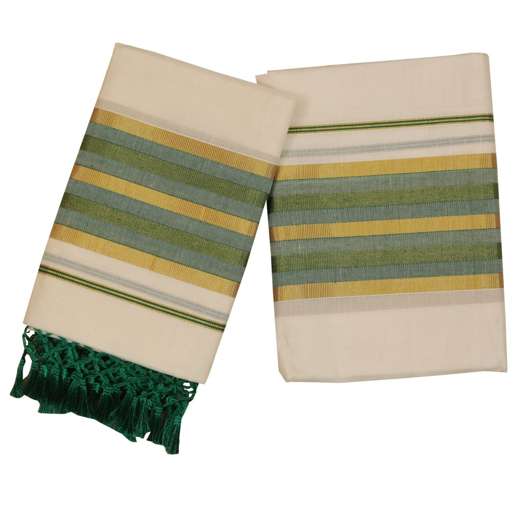 Traditional Green Set Mundu With Tussel Work