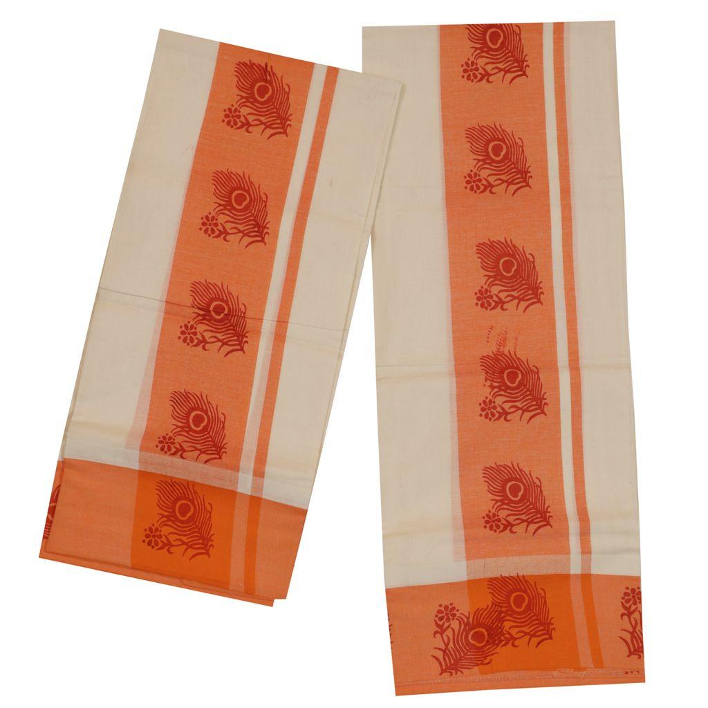 Mulloth Set Mundu With Orange Mayilpeeli Design