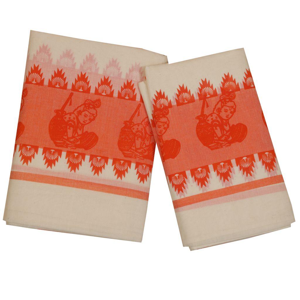 Traditional Orange Mulloth Set Mundu