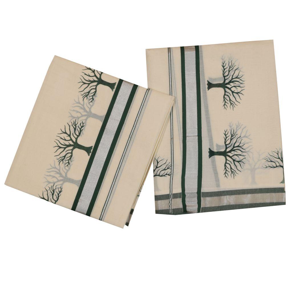 Set Mundu With Special Green Tree Design