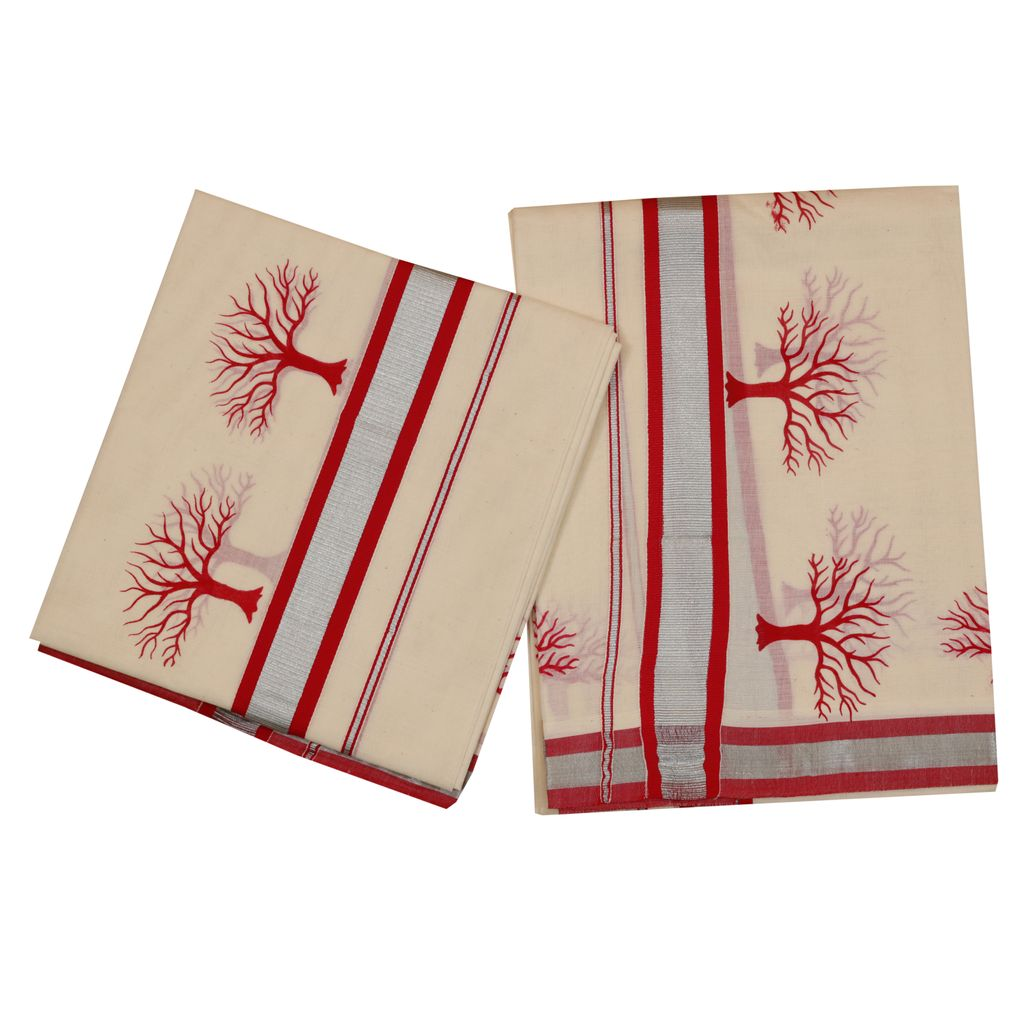 Set Mundu With Special Red Tree Design