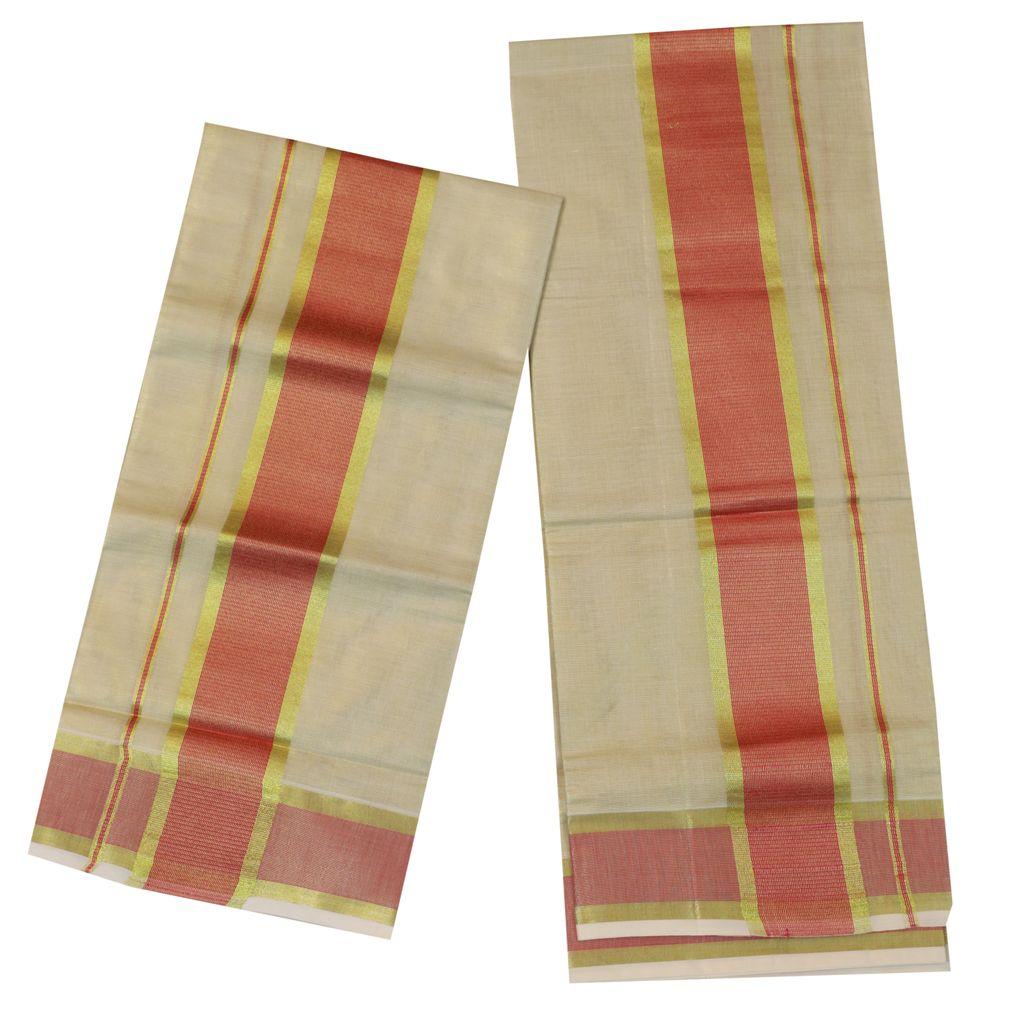 Tissue Set Mundu With Red And Golden Kara