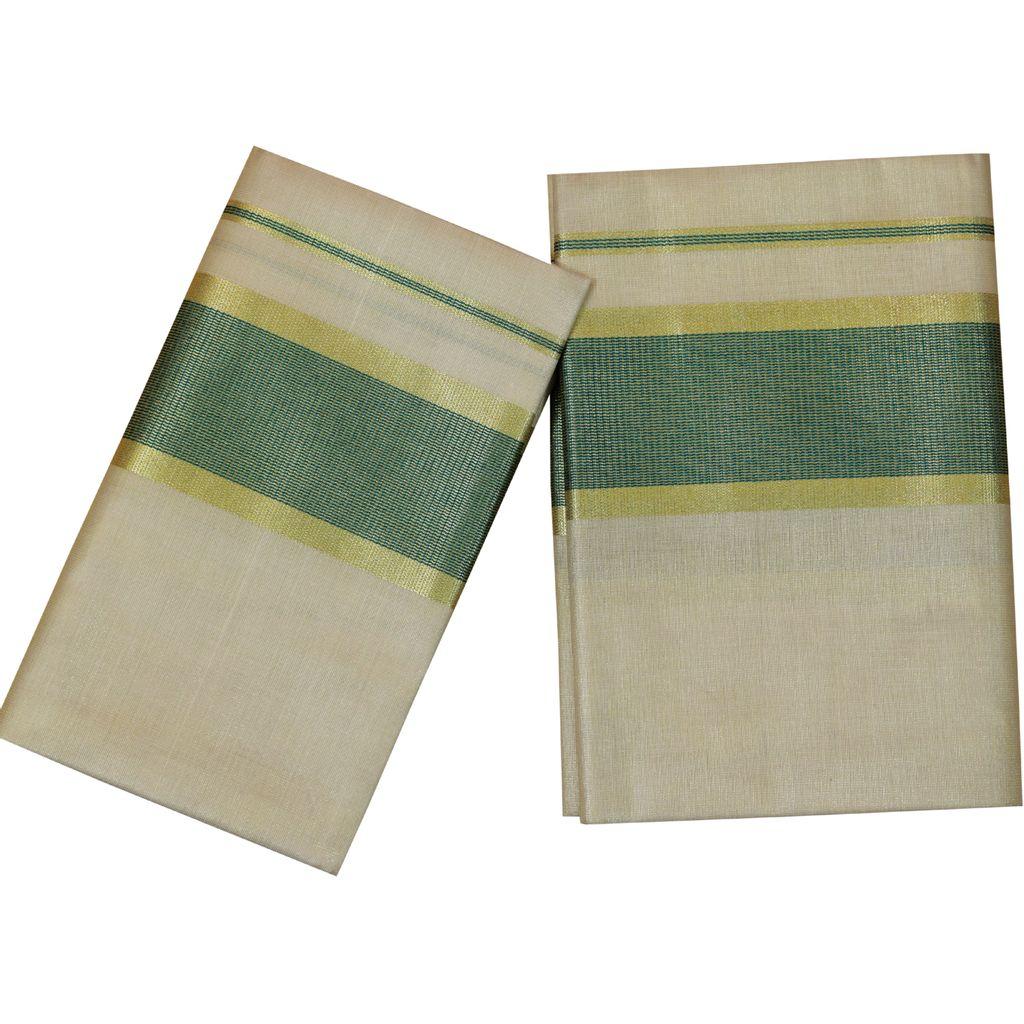 Tissue Set Mundu With Green And Golden Kara