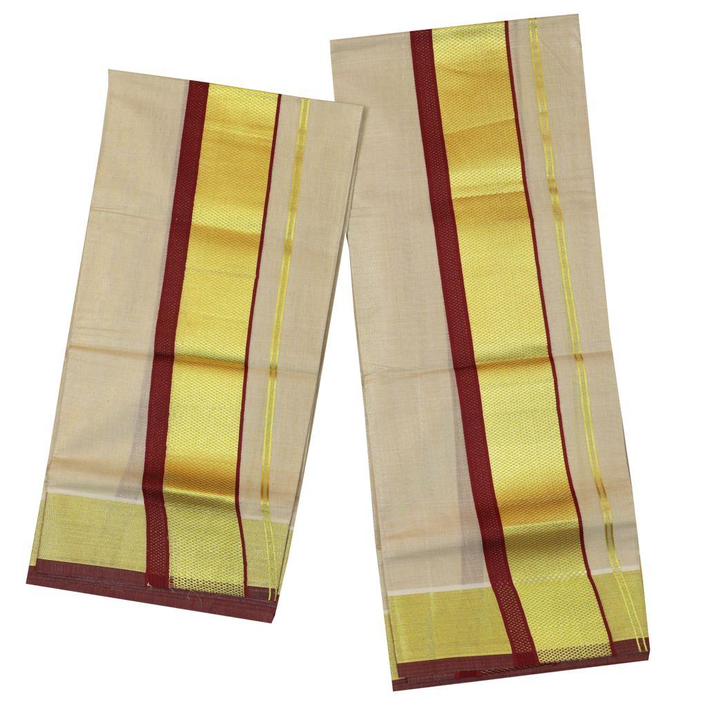 Tissue Set Mundu With Maroon And Golden Kara