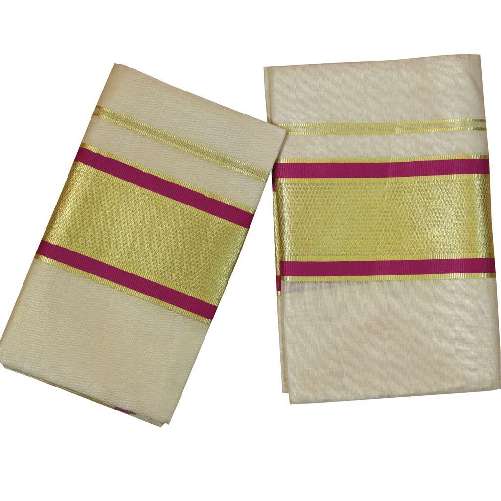 Tissue Set Mundu With Purple And Golden Kara