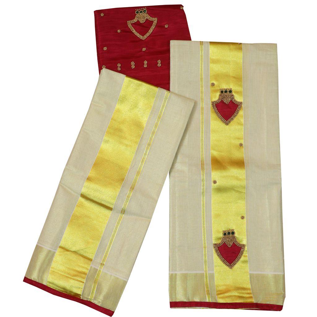 Tissue Set Mundu With Palaka Design