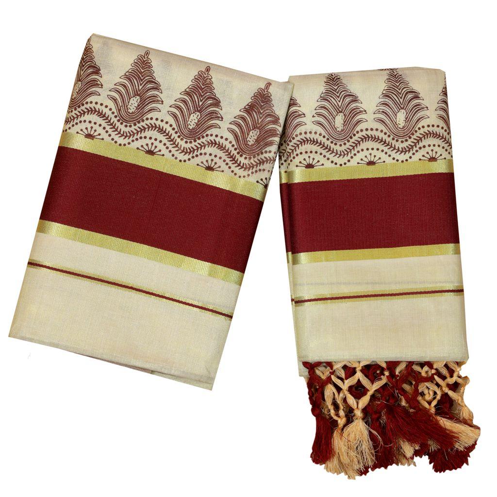 Golden Tissue Set Mundu With Tussel Work