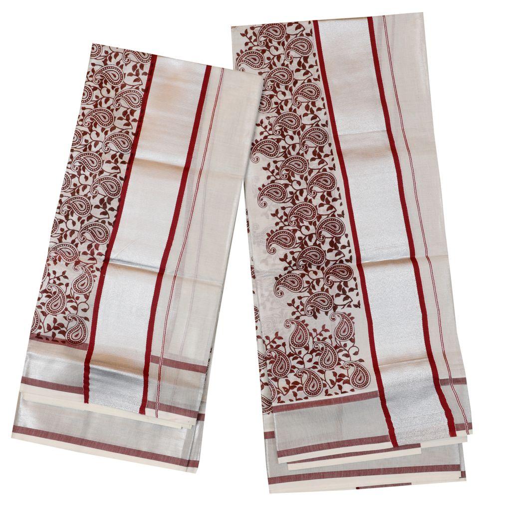 Silver Tissue Set Mundu With Maroon Design