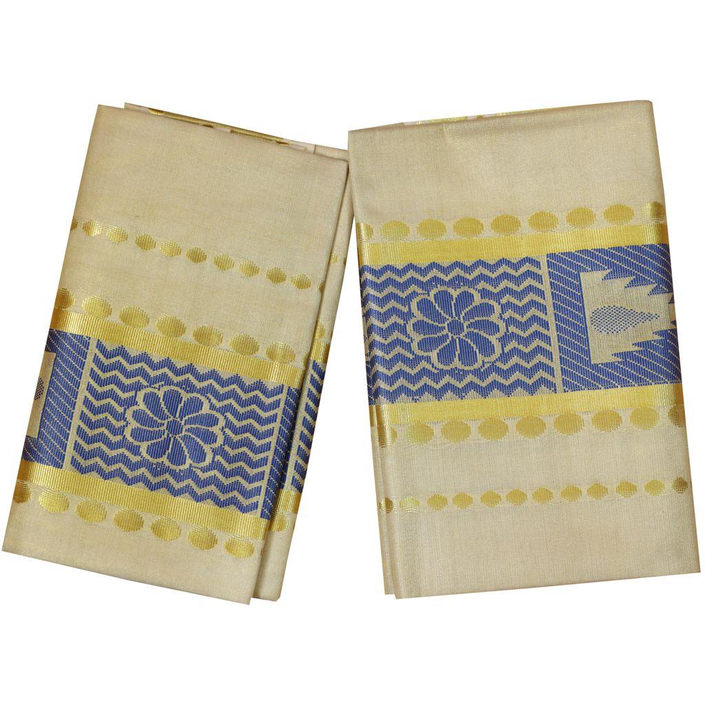 Golden Tissue Set Mundu With Blue Design