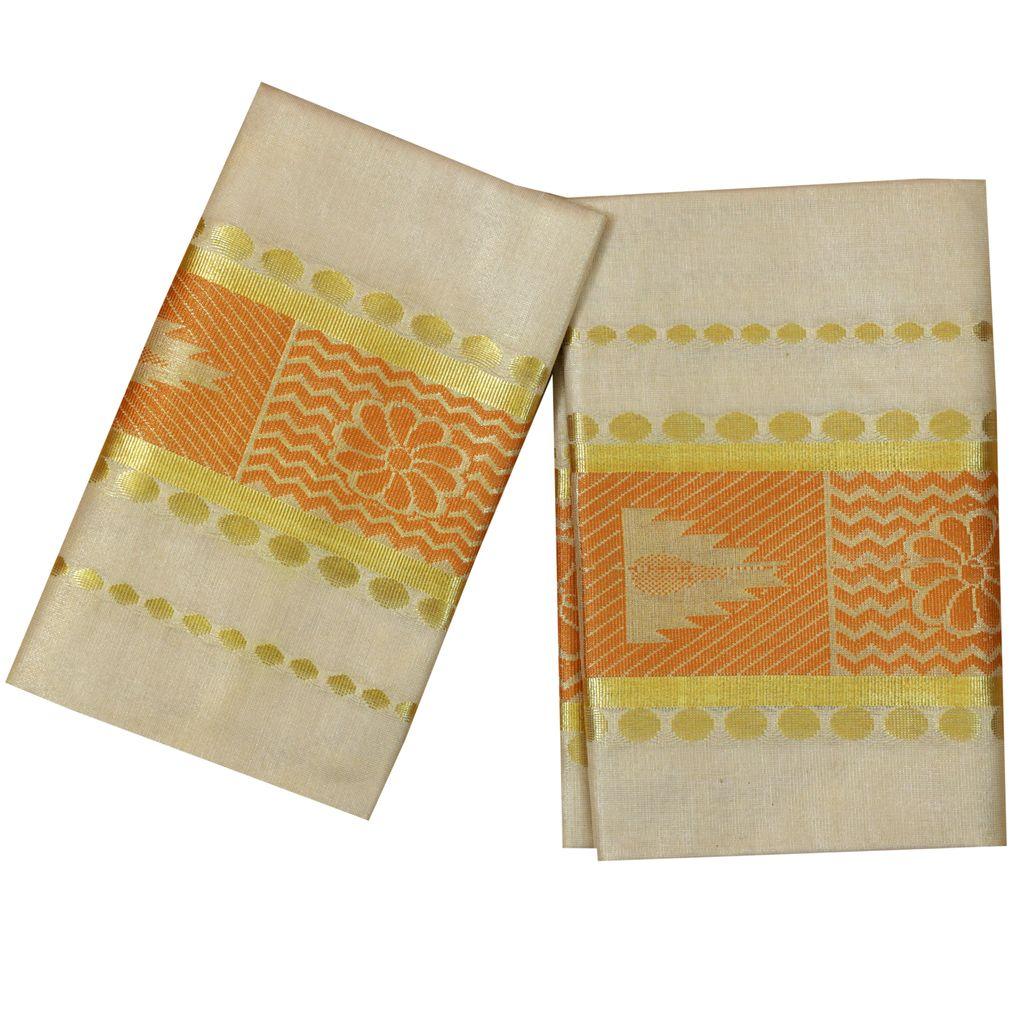 Golden Tissue Set Mundu With Orange Design
