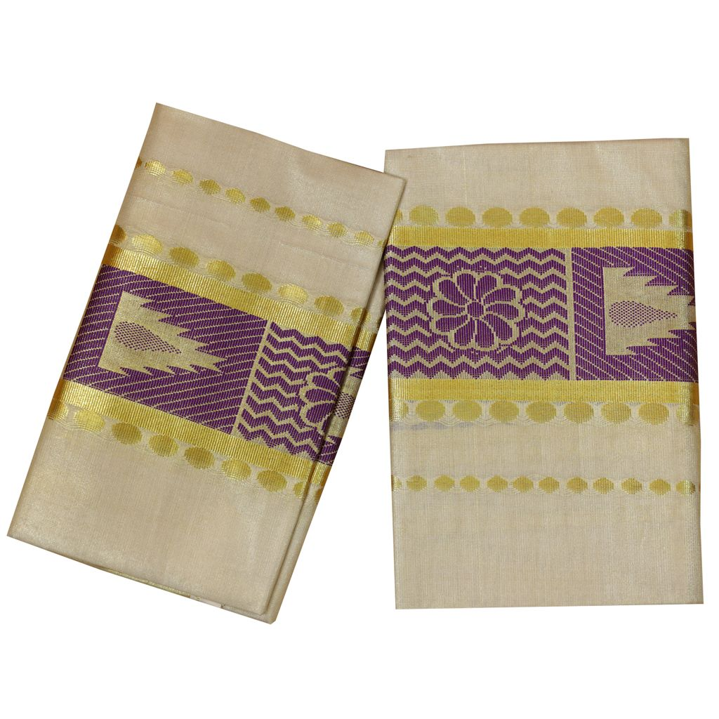 Golden Tissue Set Mundu With Violet Design