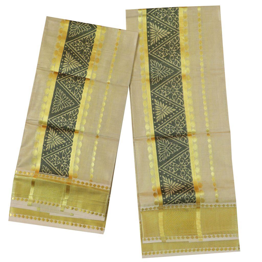 Golden Tissue Set Mundu With Green Design