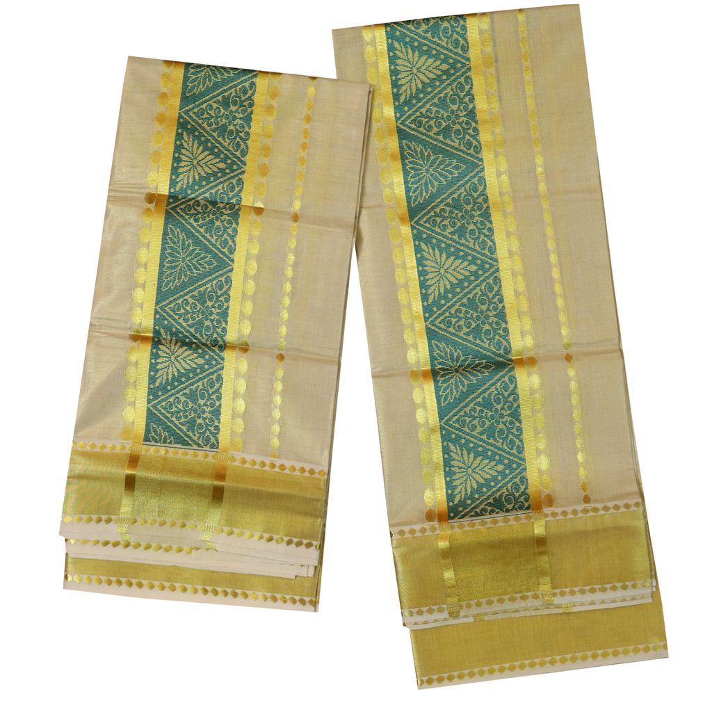 Golden Tissue Set Mundu With Cyan Design