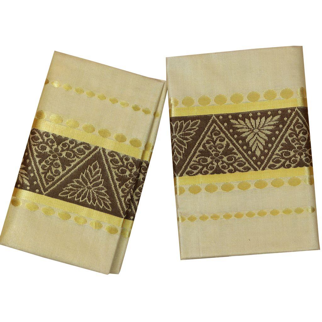Golden Tissue Set Mundu With Coffee Brown Design