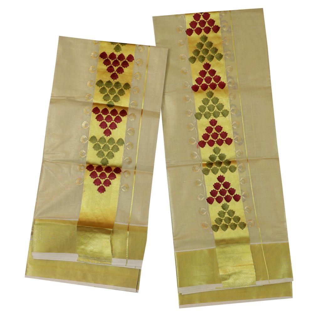 Golden Tissue Set Mundu