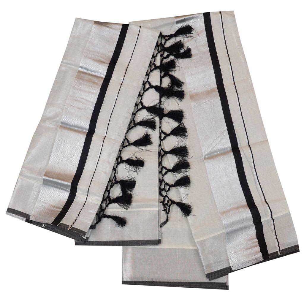 Silver Tissue Set Mundu With Black Kara