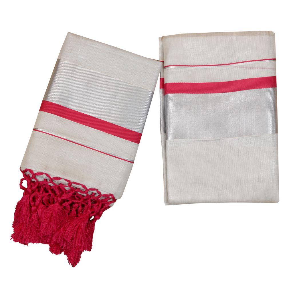 Silver Tissue Set Mundu With Pink Kara