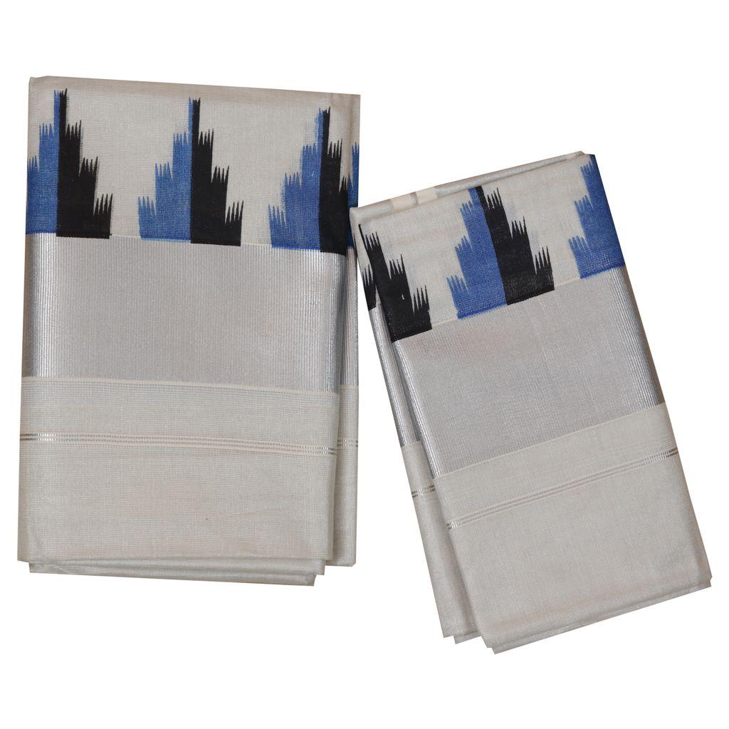 Silver Tissue Set Mundu
