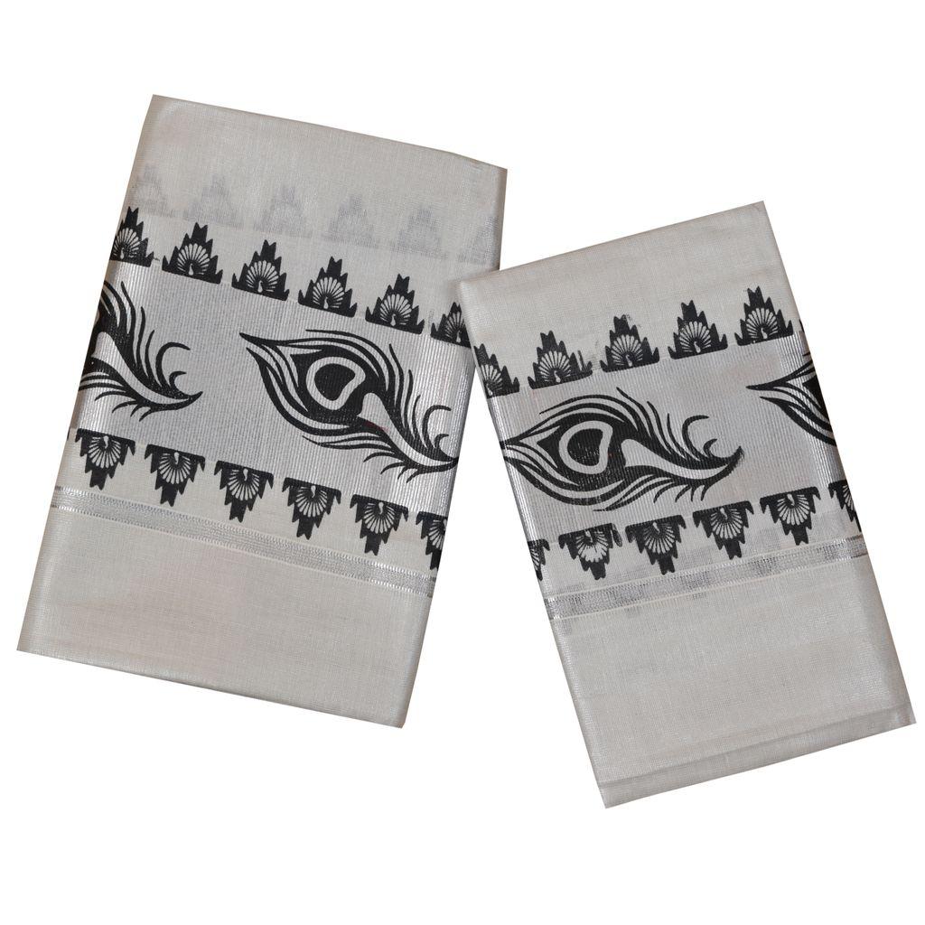 Silver Tissue Set Mundu With Fancy Print